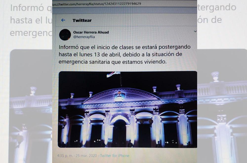 Twitt - La imagen que muestra un supuesto twitt del gobernador Oscar Herrera Ahuad, informando que el inicio de clases se postergará hasta el 31 de abril, es falsa. De momento, no existe ninguna confirmación oficial sobre qué ocurrirá con las clases.